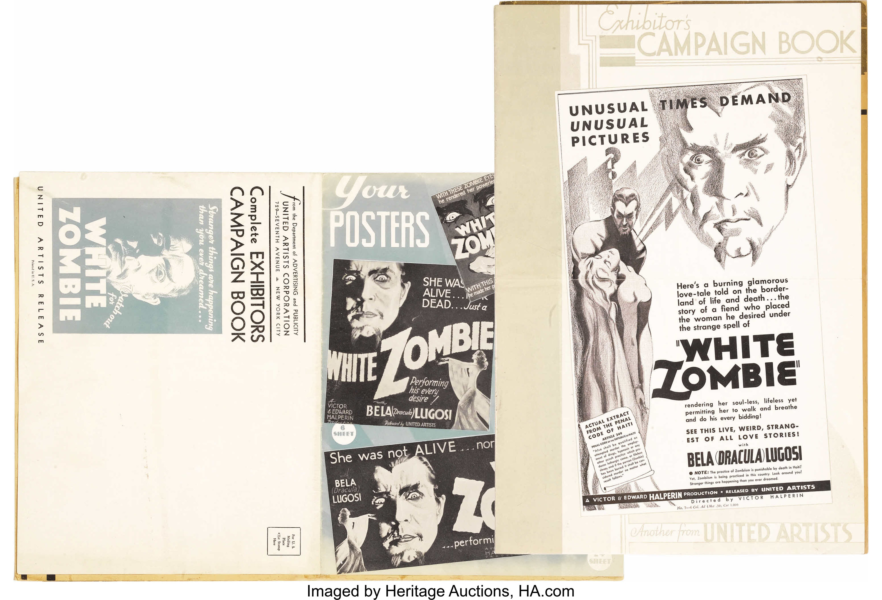 White Zombie (United Artists, 1932)  Pressbook (Multiple