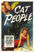 "Movie Posters:Horror, Cat People (RKO, R-1952). One Sheet (27"" X 41""). Striking image ofSimone Simon graces this poster for the 1952 re-release o..."