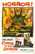 "Movie Posters:Horror, Curse of the Demon (Columbia, 1957). One Sheet (27"" X 41"").Skeptical scientist Dana Andrews learns that ancient runes reall..."