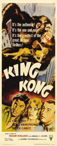 """Movie Posters:Horror, King Kong (RKO, R-1956). Insert (14"""" X 36""""). Fantastic graphics forthe 1956 re-release features great art of the raging Kon..."""