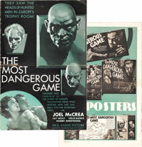 """The Most Dangerous Game (RKO, 1932). Pressbook (Multiple Pages) (12"""" X 18""""). In one of the best horror films t..."""