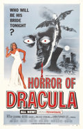"Movie Posters:Horror, Horror of Dracula (Warner Brothers, 1958). One Sheet (27"" X 41"").Christopher Lee brings to life the famous vampire in this ..."