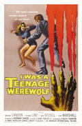 "Movie Posters:Horror, I Was a Teenage Werewolf (AIP, 1957). One Sheet (27"" X 41"").Michael Landon is a teenage boy who's turned into a werewolf in..."