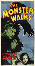 "Movie Posters:Horror, The Monster Walks (Astor, R-1938). Three Sheet (41"" X 81""). Thislow budget old dark house horror film features a maniacal u..."