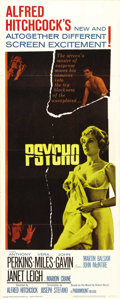 "Movie Posters:Hitchcock, Psycho (Paramount, 1960). Insert (14"" X 36""). Although AlfredHitchcock made a career directing spy and suspense films, noth..."