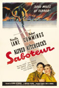 "Movie Posters:Thriller, Saboteur (Universal, 1942). One Sheet (27"" X 41"") Style C. Thisfilm is typically Hitchcock. Its succession of incredible cl..."