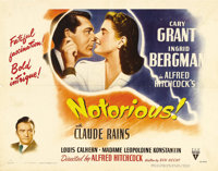 "Notorious (RKO, 1946). Half Sheet (22"" X 28""). Cary Grant and Ingrid Bergman star in this classic wartime tale..."