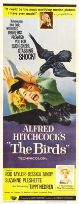 """The Birds (Universal, 1963). Insert (14"""" X 36""""). This fabulous insert for one of Alfred Hitchcock's best pictu..."""