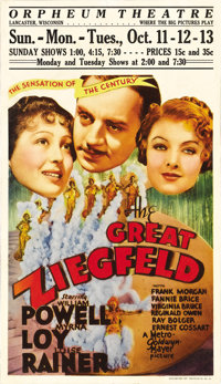 """The Great Ziegfeld (MGM, 1936). Midget Window Card (8"""" X 14""""). Winner of Best Picture of the Year, this classi..."""