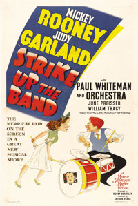 """Strike Up the Band (MGM, 1940). One Sheet (27"""" X 41""""). Mickey Rooney and Judy Garland are trying to raise mone..."""