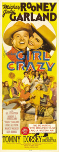 """Movie Posters:Musical, Girl Crazy (MGM, 1943). Insert (14"""" X 36""""). In yet another pairing of Mickey Rooney and Judy Garland, Rooney gets shipped ou..."""
