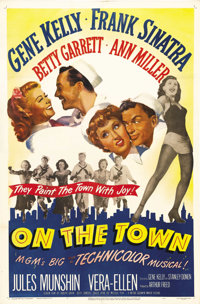 "On the Town (MGM, 1949). One Sheet (27"" X 41""). Gene Kelly and Frank Sinatra co-star with Vera-Ellen and Ann M..."