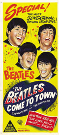 "The Beatles Come to Town (Warner Brothers, 1963). Australian Daybill (13"" X 30""). Produced as a Pathe' news sh..."
