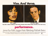 "Performance (Warner Brothers, 1970). British Quad (30"" X 40""). James Fox stars as a British gangster on the ru..."