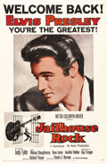 "Movie Posters:Elvis Presley, Jailhouse Rock (MGM, R-1960). One Sheet (27"" X 41""). This is thefamous ""Welcome Back Elvis Presley - You're the Greatest"" r..."