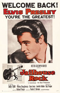 "Jailhouse Rock (MGM, R-1960). One Sheet (27"" X 41""). This is the famous ""Welcome Back Elvis Presley - You..."