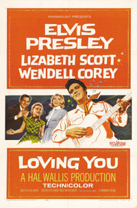 "Loving You (Paramount, 1957). One Sheet (27"" X 41""). The story centers around Jimmy Tompkins' (Elvis Presley)..."