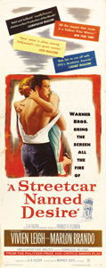 "Movie Posters:Drama, A Streetcar Named Desire (Warner Brothers, 1951). Insert (14"" X36""). Although Marlon Brando had made ""The Men"" the previous..."
