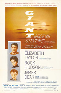 "Giant (Warner Brothers, 1956). One Sheet (27"" X 41""). George Stevens created one of the greatest films from th..."