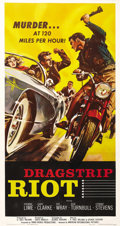 "Movie Posters:Drama, Dragstrip Riot (AIP, 1958). Three Sheet (41"" X 81""). After a longcareer as a leading lady, Fay Wray settled into more matro..."
