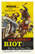 "Movie Posters:Drama, Dragstrip Riot (AIP, 1958). One Sheet (27"" X 41""). Great graphicsof a hot car and a motorcycle gang on this classic 50s Ame..."