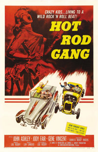 "Hot Rod Gang (American International, 1958). One Sheet (27"" X 41""). Gene Vincent was an overnight hit with the..."
