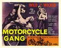 """Movie Posters:Drama, Motorcycle Gang (AIP, 1957). Half Sheet (22"""" X 28""""). In this AIP programmer, rivalry erupts between """"good"""" cyclist Randy (St..."""