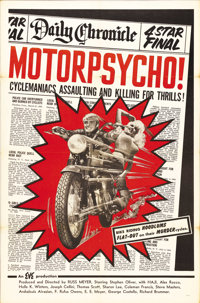 """Motor Psycho! (Eve Productions, 1965). One Sheet (27"""" X 41""""). This is an early Russ Meyer film and another exa..."""
