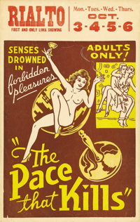 "The Pace That Kills (Willis Kent, 1935). Window Card (14"" X 22""). Incredibly sensual graphics for this 1935 ex..."