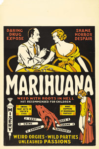 "Marihuana (Roadshow Attractions, 1936). One Sheet (27"" X 41""). Directed by Dwain Esper, and written by Esper's..."