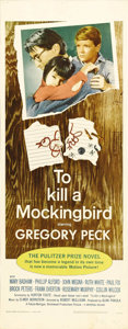 "Movie Posters:Drama, To Kill a Mockingbird (Universal, 1963). Insert (14"" X 36"").Gregory Peck plays Atticus Finch, a small town attorney with a ..."