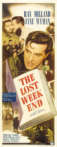"Movie Posters:Drama, The Lost Weekend (Paramount, 1945). Insert (14"" X 36""). The writingteam of Charles Brackett and Billy Wilder reunited for t..."