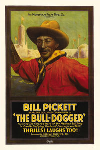 """The Bull-Dogger (Norman Film Manufacturing, 1921). One Sheet (27"""" X 41""""). Bill Pickett, a rodeo stuntman who h..."""