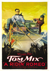 "A Ridin' Romeo (Fox, 1921). One Sheet (27"" X 41""). Tom Mix wrote and starred in the story of Jim Rose, a young..."
