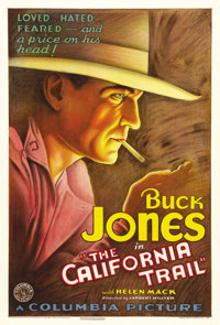 "The California Trail (Columbia, 1933). One Sheet (27"" X 41""). Beautiful, early Buck Jones Western poster co-st..."