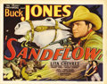 "Movie Posters:Western, Sandflow (Universal, 1937). Title Lobby Card (11"" X 14""). Buck Jones rides to the rescue once again on this exciting title c..."