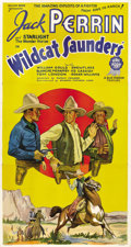 "Movie Posters:Western, Wildcat Saunders (Atlantic Pictures, 1936). Three Sheet (41"" X 81""). Action and racial issues mark this unusual oater in whi..."