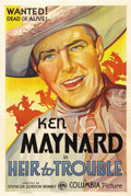 "Movie Posters:Western, Heir to Trouble (Columbia, 1935). One Sheet (27"" X 41""). Ken Maynard performed as a trick rider with the Buffalo Bill and th..."