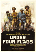"Movie Posters:Documentary, Under Four Flags (U.S. Committee on Public Information, 1918). OneSheet (27"" X 41""). The third propaganda film produced by ..."