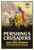"Movie Posters:Documentary, Pershing's Crusaders (First National, 1918). One Sheet (27"" X 41""). This flag-waving, patriotic documentary almost came out ..."