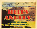 "Movie Posters:War, Hell's Angels (United Artists, 1930). Title Lobby Card (11"" X 14"").Aviation was near and dear to multi-millionaire Howard H..."