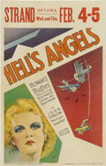 "Movie Posters:War, Hell's Angels (United Artists, 1930). Window Card (14"" X 22""). Jean Harlow stars in Howard Hughes's World War I epic about t..."