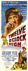 "Movie Posters:War, Twelve O'Clock High (20th Century Fox, 1949). Insert (14"" X 36"").This classic WWII drama about US flyers in England is an a..."
