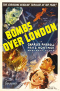 "Movie Posters:War, Bombs Over London (Film Alliance, 1939). One Sheet (27"" X 41""). Afew years before Hitler's scientists threatened Europe wit..."