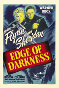 "Movie Posters:War, Edge of Darkness (Warner Brothers, 1943). One Sheet (27"" X 41"").Errol Flynn and Ann Sheridan star in this tribute to the Re..."