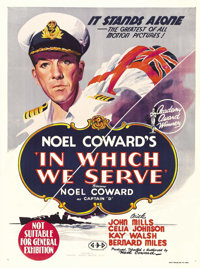 "In Which We Serve (Gaumont, 1942). Australian One Sheet (27"" X 40""). A patriotic wartime boost from Noel Cowar..."