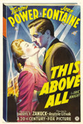 "Movie Posters:War, This Above All (20th Century Fox, 1942). One Sheet (27"" X 41"").Tyrone Power is conscientious objector Clive Briggs, who has..."