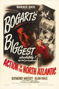 "Movie Posters:War, Action in the North Atlantic (Warner Brothers, 1943). One Sheet(27"" X 41""). Humphrey Bogart does his patriotic duty in this..."