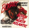 "Movie Posters:War, Action in the North Atlantic (Warner Brothers, 1943). Six Sheet(81"" X 81""). A merchant marine ship captained by Raymond Mas..."