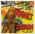 "Movie Posters:War, Sahara (Columbia, 1943). Six Sheet (81"" X 81""). Humphrey Bogartstars as a sergeant in command of a tank crew in the Libyan ..."